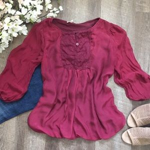 Tops - Burgundy Silk Blouse